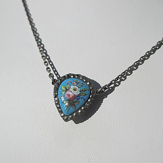 Antique Enamel Heart Necklace with Sterling Silver chain