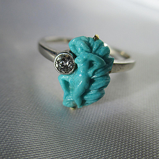 Antique Carved Persian Turquoise and Diamond Art Nouveau Ring ~ Circa 1900