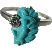 Antique Carved Persian Turquoise and Diamond Art Nouveau Ring ~ Circa 1900 - Red Tag Sale Item