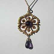Beautiful Gold Nugget and Amethyst Pendant / Necklace Retro Period