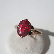 Antique Victorian Solitaire Garnet Ring ~ 2 1/2 carat Oval