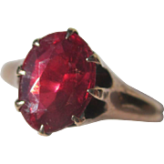Antique Victorian Solitaire Garnet Ring ~ 2 1/2 carat Oval