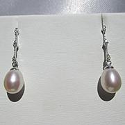 Classy Vintage Pearl and Diamond Vintage Earrings 14K Gold