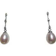 Classy Vintage Pearl and Diamond Vintage Earrings 14K Gold