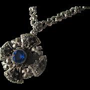 Vintage 950 Silver Jerusalem Crusaders Cross Pendant / Necklace