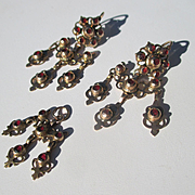Exquisite Gold and Garnet Girandole Earrings and Pendant ~ Antique Georgian Era