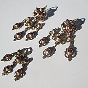 Exquisite Gold and Garnet Girandole Earrings and Pendant ~ Antique Georgian Era