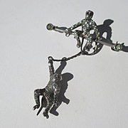 Antique Double Silver and Paste Monkey Brooch ~ Edwardian Period