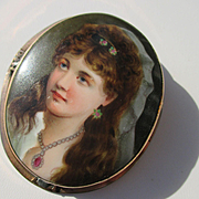 Lovely Hand Painted Antique Portrait Brooch in 12K Gold