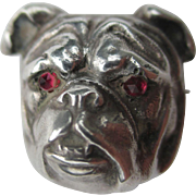 Antique Sterling Silver Bulldog Watch pin / Brooch with Garnet Eyes