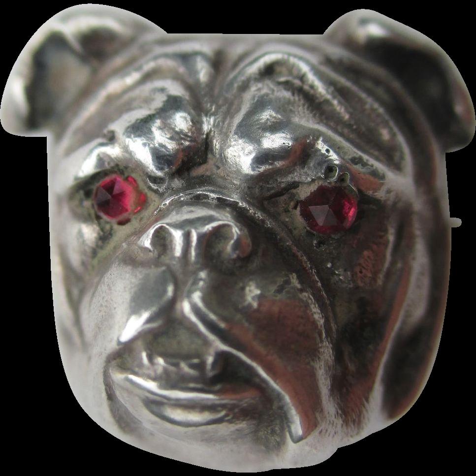 Antique Sterling Silver Bulldog Watch pin / Brooch with Garnet Eyes
