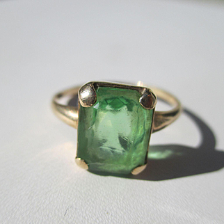Antique Emerald Cut Green Paste Ring in 14K Gold ~ Edwardian Period