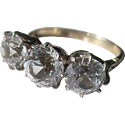 Vintage White Sapphire Trilogy Ring in 18K Gold and Platinum