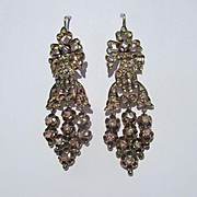 Antique French Rose Gold / Diamond Gloved Hand Motif Dangle Earrings