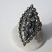 Antique French Diamond Enamel / Silver / Gold Bague de Firmament Georgian Ring