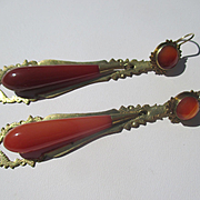 Antique Gold Carnelian Day / Night Earrings ~ Victorian Era