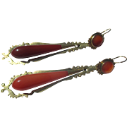Shop Special! Antique Gold Carnelian Day / Night Earrings ~ Victorian Era