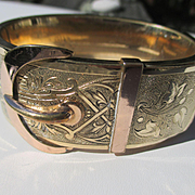 Wide Gold Filled Antique Buckle Bracelet / Bangle ~ Victorian Period
