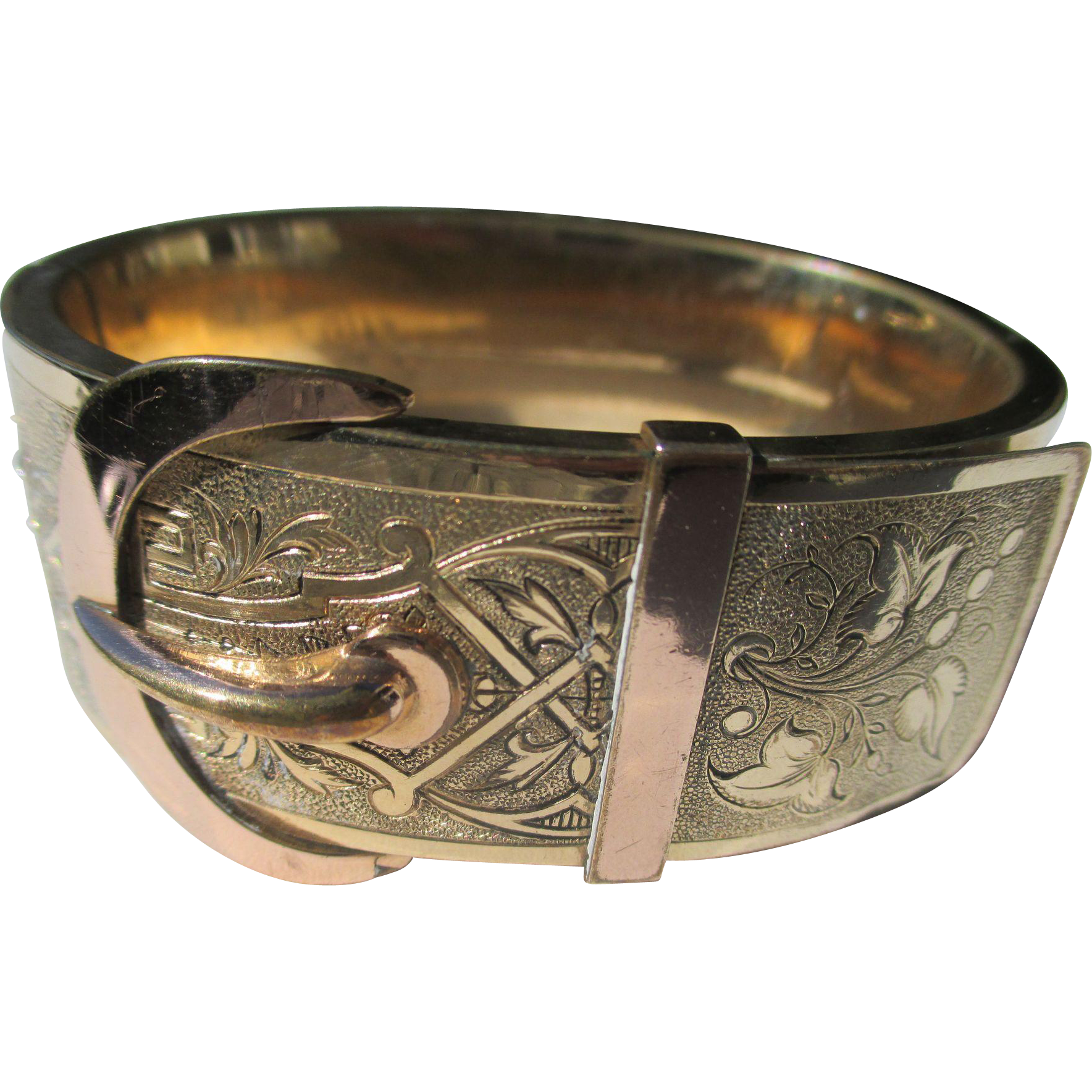Wide Gold Filled Antique Buckle Bracelet / Bangle ~ Victorian Period