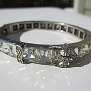 Widest Art Deco Square Paste Diamonbar Buckle Bangle / Bracelet