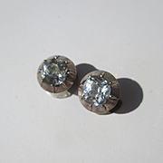 Antique Cushion Cut French Paste Cufflinks Circa 1840 ~