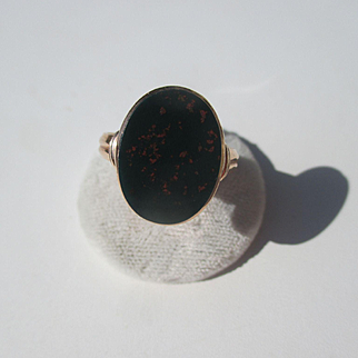 Antique 15K Rose Gold Bloodstone Signet Ring ~ Victorian Period