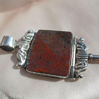 Rare Antique MOP and Bloodstone Watch Key / Pendant Silver ~ Georgian Period