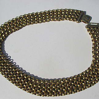 Antique 4 Strand Italian Rolled Gold Belcher Chain / Necklace