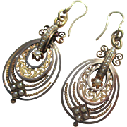 Spectacular Antique Gold and Pearl Triple Hoop Dangle Earrings ~ Victorian