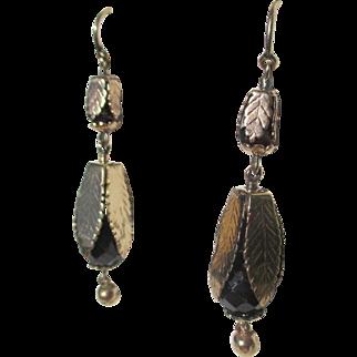 Exceptional Antique Gold Leaf Garnet Dangle Earrings ~ Victorian