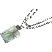 Vintage Modernistic Aquamarine Necklace with Sterling Chain ~ Mid Century