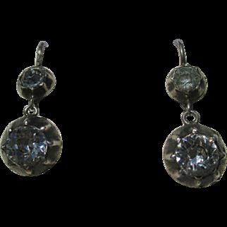 Antique True French Paste Dangle Earrings ~ 6 3/4 carats mine cut TPW ~ Georgian Era Circa 1800