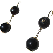 Antique Double Drop Garnet and Gold Earrings ~ Victorian