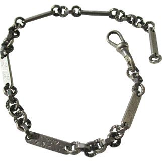 Antique Silver Watch Fob Chain / Bracelet