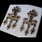 Spectacular Antique Georgian Gold and Garnet Girandole Earrings ~ Circa 1780