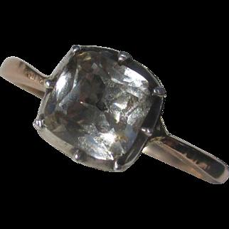 Wonderful Cushion Cut Quartz Crystal Black Dot Solitaire Georgian Ring / Rose Gold