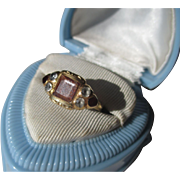 Antique Georgian Golden Rutilated Quartz / Garnet / Aquamarine Rolled 15K Gold Sister Ring
