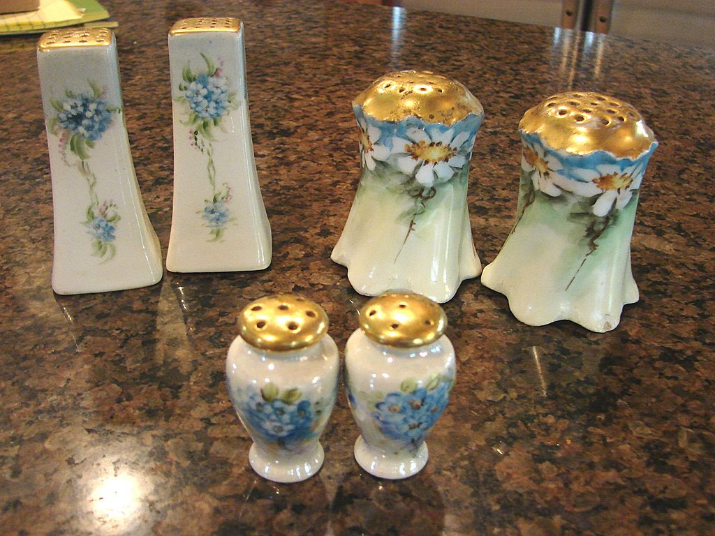 3 pair Shakers Hand China Painted Floral Salt Pepper Muffineer Porcelain China Heirloom Vintage