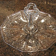 :   Cambridge Glass Rock Crystal Sandwich Tray Scarce Engraved Cut