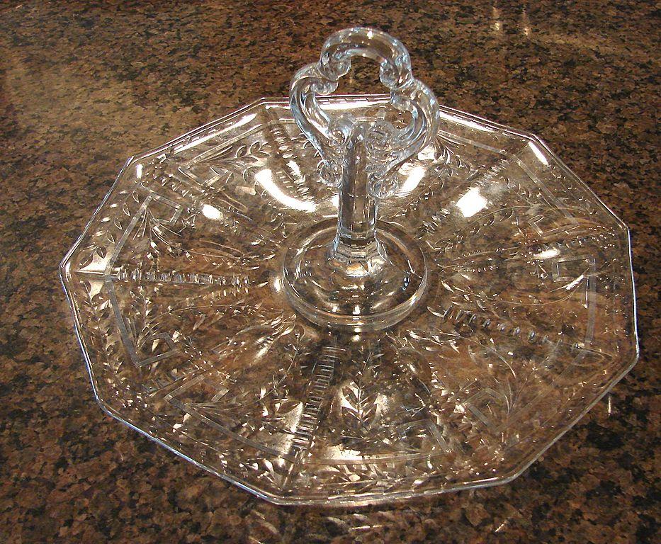 :   Cambridge Glass Rock Crystal Sandwich Tray Scarce Engraved Cut
