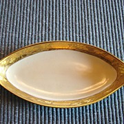Artist Signed Candy Dish Vanity Dish Gold Brocade China Painted