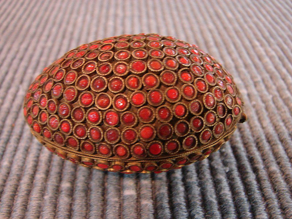 Asian Antique Carnelian Jeweled Egg Trinket Jewelry Box
