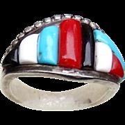 Native American Zuni Veronica Pablano Ring Turquoise Coral Jade