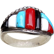 Native American Zuni Veronica Pablano Ring Turquoise Coral Jade