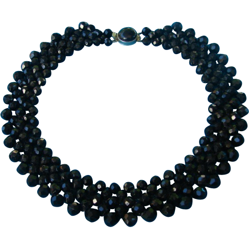 Vintage Beaded Black Collar Necklace Choker