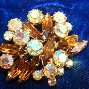 Aurora Borealis Amber Champagne Rhinestone Brooch