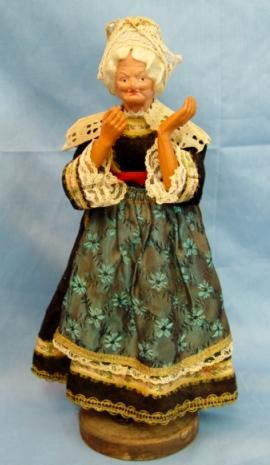 Antique Doll Paper Mache Celluloid H/P Character Old Lady Original Costume Fine