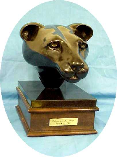 Bronze Sculpture Black Panther Cougar PS Lynch Original Signed Intent On Its Prey