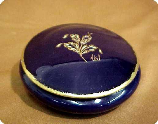 Limoges France Vanity Jar Cobalt Porcelain Signed