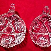 Matched Pair! American Brilliant Period Cut Glass Nappy Relish Bowls Antique
